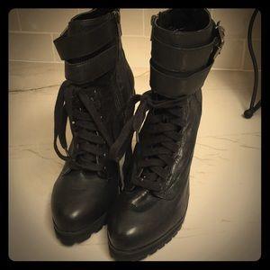 Kelsi Dagger Black Heeled Combat Boots Size 9.5